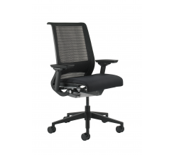 Steelcase Think Office Chair with Sewn Leather and 3D Knit Back